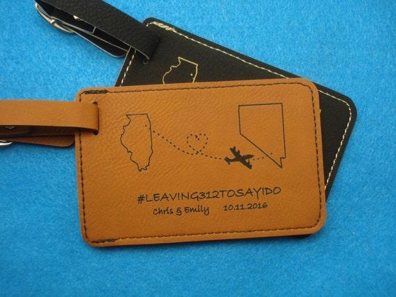 Wedding Favor Luggage Tags Leather : 60 LUGGAGE TAGS Leather Luggage Tags personalized with your