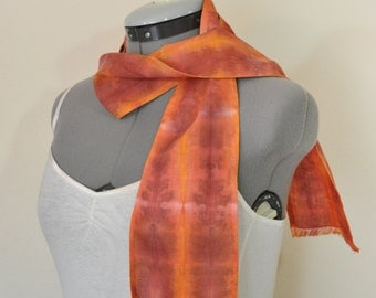 """Red Yellow Cotton Linen SCARF - Garnet Gold Hand Dyed Tie Dye Hand Made Linen Cotton Scarf #159 - 5 x 46"""""""