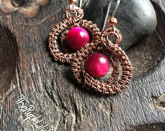 Valentine's earrings, Antiqued Copper and Pink Tigerseye, ThePurpleLilyDesigns
