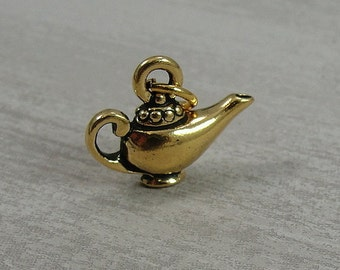 Aladdins Lamp Charm - Gold Plated Magic Lamp Charm for Necklace or Bracelet