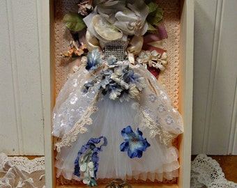 Altered Art Dress - Mixed Media Art - Shadowbox - Vintage Trims Dress - Art Collage  - French Farmhouse Home Decor