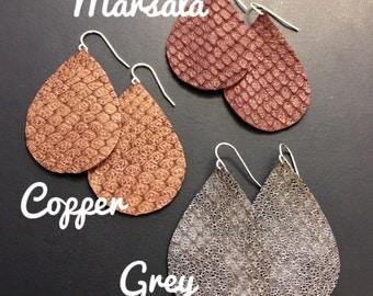 Metallic snakeskin print leather teardrop earrings