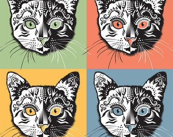 Cat Wall Art Print in the Sugar Skull Style