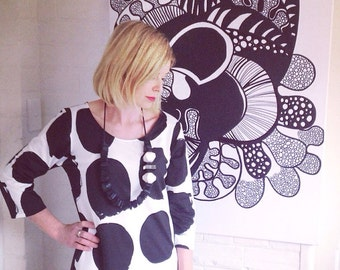 Marimekko Dress tunic Koppelo Black and White Marimekko Jersey Fabric