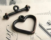 Heart toggle clasp, 16mm heart, 20mm toggle bar (2 toggle links) heart necklace clasp, black antiqued pewter, aged patina, made in the USA