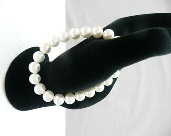 nbs-White Pearl Stretch Bracelet