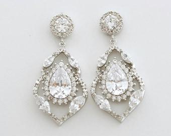 Crystal Bridal Earrings Wedding Jewelry Crystal Drop Wedding Earrings Cubic Zirconia Bridal Earrings, Laila