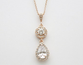 Rose Gold Necklace Wedding Jewelry Clear Cubic Zirconia Teardrop Pendant Rose Gold Bridal Necklace Bridal Jewelry, Hebe