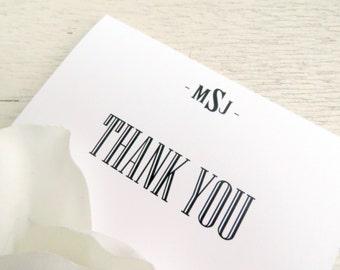 Printed Wedding Thank You Card | Wedding Thank You Card | Thank You Card | Thank You PRINTED  - Style TY89 - TUXEDO COLLECTION