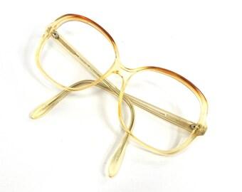 vintage 70's used square eyeglasses frame plastic oversize retro eye glasses eyewear optical translucent yellow brown unisex simple 96