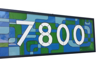 Custom House Numbers Stained Glass Mosaic