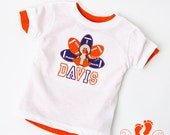 Boys Custom Football Turkey Tee OR Onesie - choose your Font AND Colors - Clemson Colors - Same Day Shipping - Fall and Thanksgiving