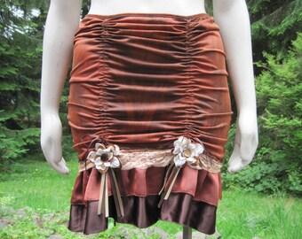 Beautiful Rusty Brown Up-Cycled Slip Skirt