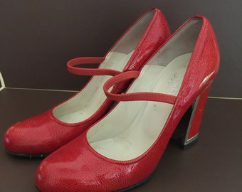 Bally Red Leather Mary Janes with Mirrored High Heels 38EU/7.5
