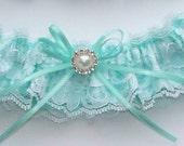 Lace Garter, Wedding Garter in Aqua Blue - The TIFFANY Garter
