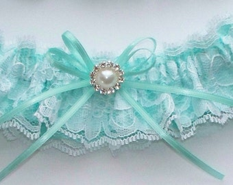 Lace Garter, Wedding Garter in Aqua Blue - The TIFFANY Garter