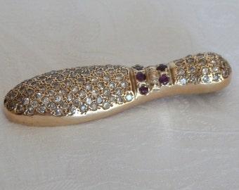 14 KT Gold Diamond and Ruby Bowling Pin Pendant