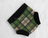 Large Soaker Irish Cucumber Plaid Anti-Pill Fleece Diaper Cover in Green, Oatmeal, Gray, Black, Ready to Ship for St. Patrick's Day