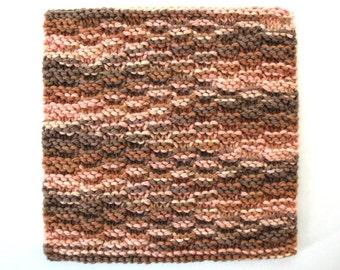 Cotton Dishcloth, Hand Knit Dishcloth, Neutral Brown Kitchen Decor