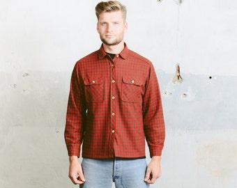 Vintage 1970s Mens Shirt . Plaid Overshirt Wool Checkered Red Brown 70s Retro Lumberjack Jacket Men Clothing Grunge Boyfriend . size Medium