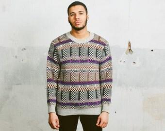 BENETTON Mens 80s Sweater . Vintage Oversized Boyfriend Sweater Geometric Bold Patterned Wool Purple Jumper 1990s . size Medium Large