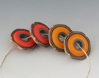Rustic Squared Discs - (4) Handmade Lampwork Beads - Butternut, Coral