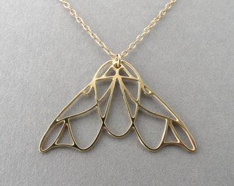 gold moth necklace, moth jewelry, moth necklace