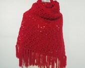 Chery red velvet  Crochet shawl