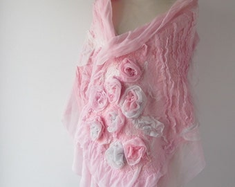 Nuno felted scarf ruffle Pink rose flower wedding bride scarf Pink silk scarf pink wedding rose women stole bride silk shawl