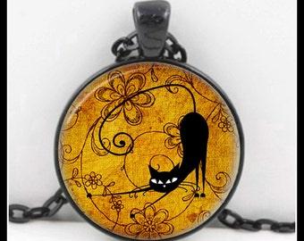 Black Cat, Black Cat Pendant, Black Cat Necklace, Black Cat Jewelry, Glass Necklace - P-BC-7