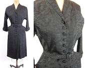 50s Mitchell Frocks Black Taffeta Wiggle Dress - Mid 50s Wiggle Dress