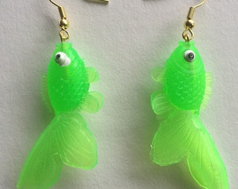 Green Goldfish Earrings