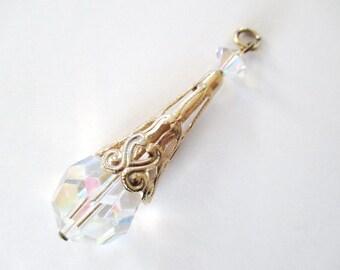 Pretty Vintage Filigree & Crystal Teardrop Pendant