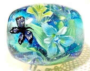 DISCOUNT!!!  Iris Garden in Waterside with Butterfly Satake Glass Lampwork Round Flower Bead sra
