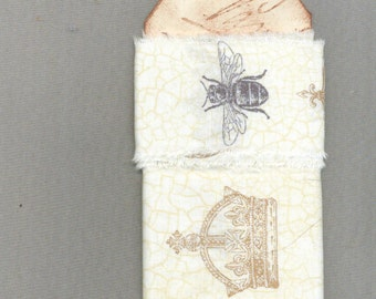 crown ribbon, bee, french, FLEUR DE LIS,, hand made torn ribbon, natural cotton muslin ,home decor Paris apt country french farm  1327 51