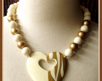 Vintage Beaded Heart Necklace, Gold Tone, Light Cream Color, 1970's