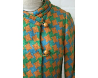 1960s Mod Houndstooth Double Breasted Coat