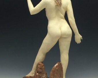 Custom Ceramic Figure Sculpture, Standing Nude Woman Figurine, Erotic Mature Art