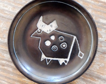 1950s Arabia Finland Torro Bull Dish Tarina Series Eira Kaar Leena Vuorinen Midcentury Scandinavian Iconic Fanciful Abstract Design