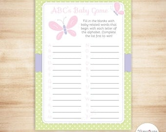 Butterfly ABCs Baby Shower Game - Baby ABC Game - Butterfly Girl Baby Shower - Pink and Green - PRiNTABLE, INSTANT DOWNLOAD