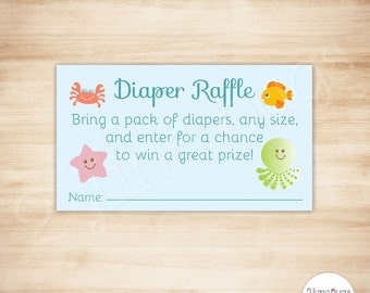 Under the Sea Baby Shower Diaper Raffle Tickets - PRINTABLE - INSTANT DOWNLOAD