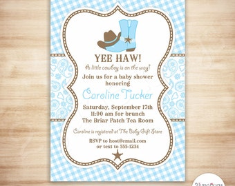 Cowboy Baby Shower Invitation - Baby Blue Paisley Baby Shower Invitation - Western Baby Boy Shower - PERSONALIZED, PRINTABLE