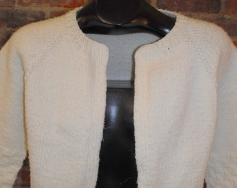 Vintage Womens Hand Knit Cardigan Sweater Off White Ivory Unsized Open Front N1