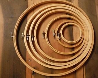 """7 Vintage WOOD EMBROIDERY HOOPS Lot 3"""" 4"""" 6"""" 8"""" 9""""10"""" 12"""" Wooden Hoop"""