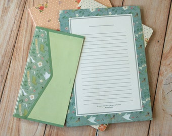 Love Bird Indigo cartoon writing paper & envelopes letter set