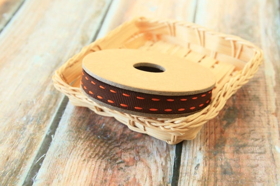 Turkish BROWN Vibrant Stitched Grossgrain woven ribbon