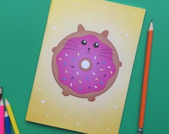 back to school, Notebook, Journal, Sketchbook with plain pages, cute kawaii cat, colourful stationery yellow booklet, doughnut A5 book