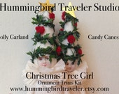 Christmas Tree Girl Garland and Candy Cane kit