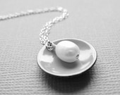 Reserved Six Gray Enamel and Pearl Circle Necklaces