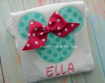 Traditional Mickey - Aqua Minnie Shirt - Minnie Mouse Disney Shirt - Girls Disney Vacation Shirt - Pink Bow Minnie - Custom Minnie Shirt